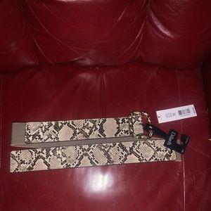 Dillards tan snake skin belt size L/XL NWT